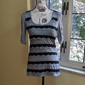 WHBM  Lace Striped Top with Rouched Sleeves
